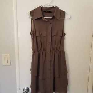 Set of 4 black and tan brown military button dress